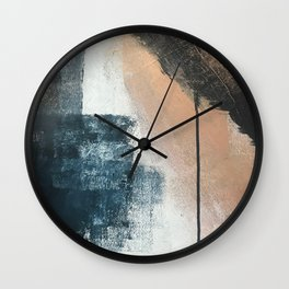 Honey 1: a pretty, minimal abstract in midnight blue, rose gold, and white Wall Clock