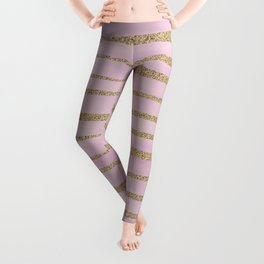 Soft Pink and Gold faux Glitter Stripes Leggings
