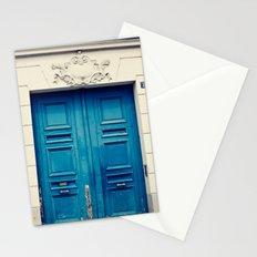 Paris door, blue Stationery Cards