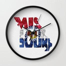 Missouri Typographic Flag Map Art Wall Clock