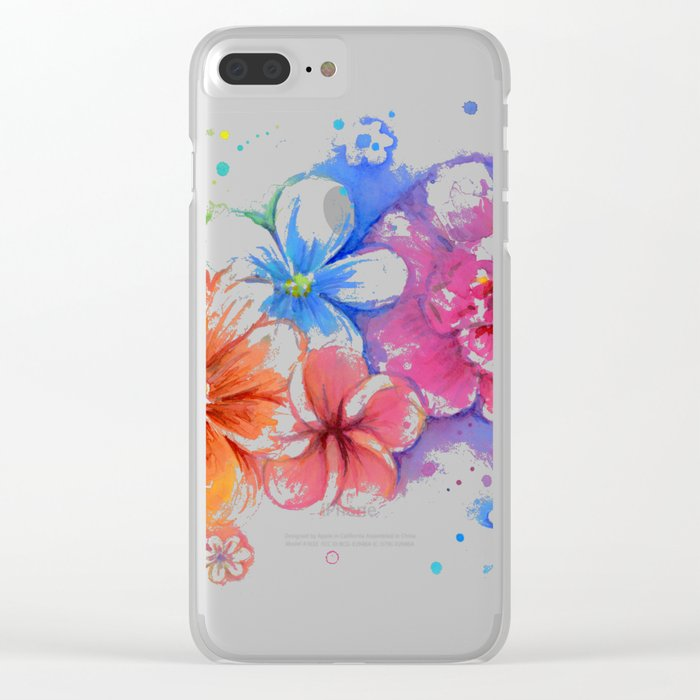 Flowers Rainbow Watercolor Clear iPhone Case