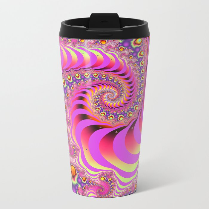 Colourful spiral motion, fractal abstract art Metal Travel Mug