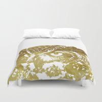 gold foil Duvet Covers featuring Faux Gold Foil Owl by Stacie Clarke