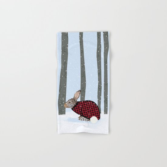 Rabbit In The Wintery Forest Hand & Bath Towel