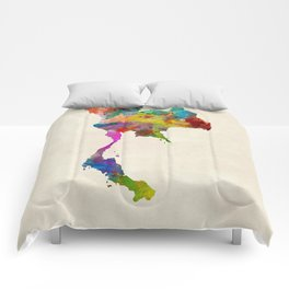 Thailand Watercolor Map Comforters