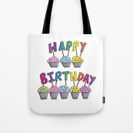 Happy Birthday Cupcakes Tote Bag