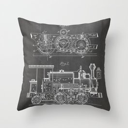 Steam Train Patent - Steam Locomotive Art - Black Chalkboard Throw Pillow