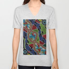 Aboriginal Art Authentic - Walking the Land Unisex V-Neck