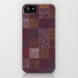 Hand Drawn Geometric Square Pattern Design - Burgundy iPhone Case