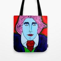 oscar wilde Tote Bags featuring Oscar Wilde by Pluto00Art / Robin Brennan