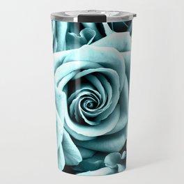 Blue Turquoise Roses Travel Mug