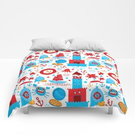 pattern with sea icons on white background. Seamless pattern. Red and blue Comforters