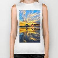 calendars Biker Tanks featuring Sunset ~ Huntington Beach Pier CA  11/7/13 by John Minar Fine Art Photography
