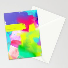 Neon Emotion | Abstract Stripes Neon Artistic Watercolor Pattern Stationery Cards