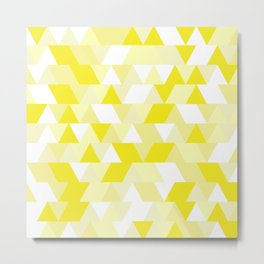 Simple Geometric Triangle Pattern - White on Yellow - Mix & Match with Simplicity of life Metal Print