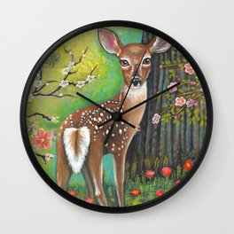 Flora and Fawn by Robynne Wall Clock