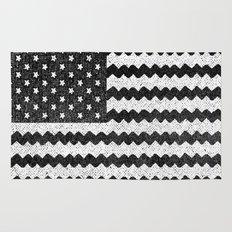 Black Zig Zag Flag Rug