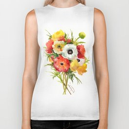 Flowers, Buttercups, orange red white yellow garden floral design Biker Tank