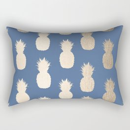 Gold Pineapples on Aegean Blue Rectangular Pillow