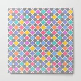 Rainbow & Gray Quatrefoil Metal Print