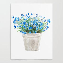 blue forget me not in a basket watwercolor Poster