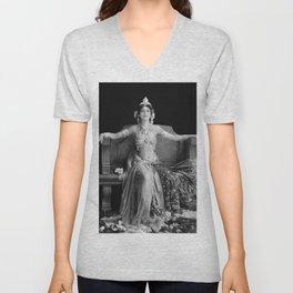 Mata Hari, Famous French Dancer and Femme fatale black and white photograph / black and white photography Unisex V-Neck