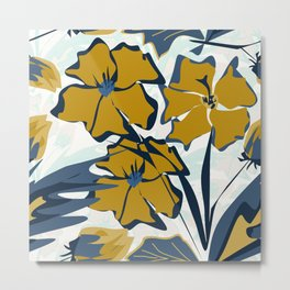Blue and swamp colored flowers. Metal Print