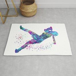 Girl Baseball Player Softball Batter Colorful Watercolor Blue Art Rug