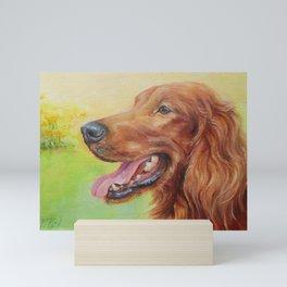 IRISH RED SETTER Dog portrait Cute pet Painting Mini Art Print