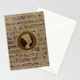 Pyrographed Golden Nefertiti on wood Stationery Cards