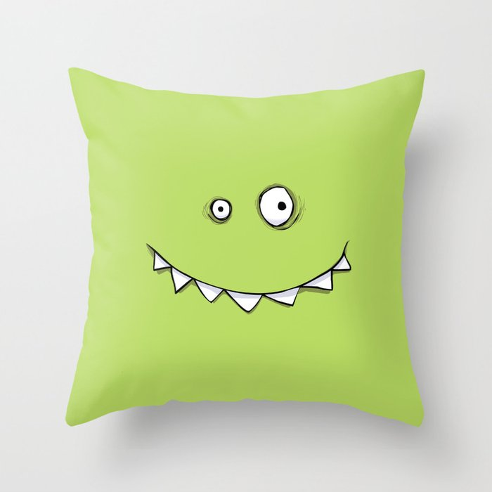 Happy Green Monster Throw Pillow