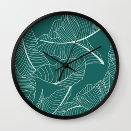 Home Palm Leaf pattern Wall Clock