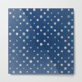 LOTS OF DOTS / indigo blue / linen beige / light blue Metal Print