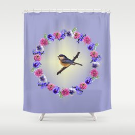 Chick-a-dee Flower Ring Shower Curtain