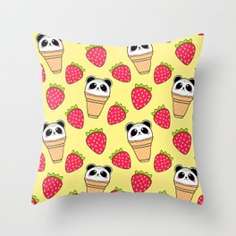 Cute funny sweet adorable little baby panda bear ice cream cones with sprinkles and red ripe summer strawberries cartoon sunny pastel yellow pattern design Throw Pillow