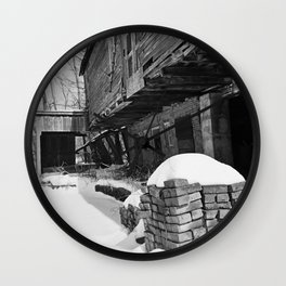 Old Barn, Yashica C, Black and White, Film, Medium Format Wall Clock