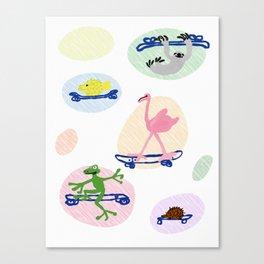 fun animals on skateboards Canvas Print