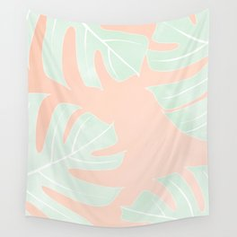 monstera pattern with peach background Wall Tapestry