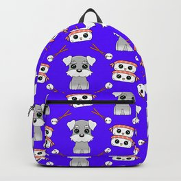 Cute cuddly funny baby Schnauzer puppies, happy cheerful sushi with shrimp on top, rice balls and chopsticks pretty blue pattern design. Backpack