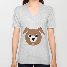 Brown & White Dog Unisex V-Neck