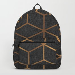 Charcoal and Gold - Geometric Textured Cube Design I Backpack