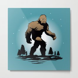 Bigfoot Silhouette Illustration. Metal Print
