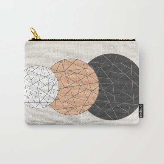 TRIAD ON BEIGE (abstract circles) Carry-All Pouch