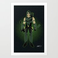 green arrow Art Prints featuring Green Arrow by The Vector Studio