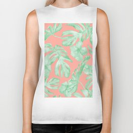 Tropical Palm Leaves Hibiscus Flowers Coral Green Biker Tank