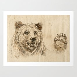 Grizzly Bear Greeting Art Print