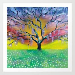 Entanglement, colorful tree landscape, beautiful landscape, cypress tree Art Print