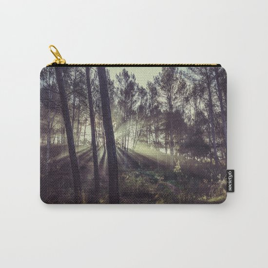 """""""Forest dreams"""". Sunrise through the foggy forest Carry-All Pouch"""