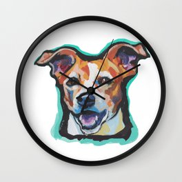 Fun Jack Russell Terrier Portrait bright colorful Dog  Pop Art by LEA Wall Clock