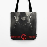 vendetta Tote Bags featuring V for Vendetta (e2) by Ezgi Kaya